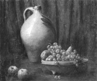 still life with fruit and earthenware jug by louis frederick berneker
