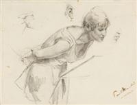 junge frau (study) by paul friedrich meyerheim
