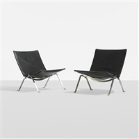 pk 22 lounge chairs (pair) by poul kjaerholm