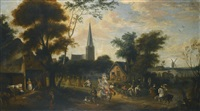 village harvest festival with figures dancing by jan wildens