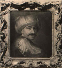 study of a turk wearing a red waistcoat and a turban by gaetano lapis