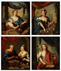 die vier jahreszeiten (4 works) by pieter cornelisz van slingeland
