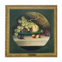 green grapes, cherries, peaches and plums in a green bowl (+ black grapes, peaches and plums on a stone ledge; pair) by w.j. leggett