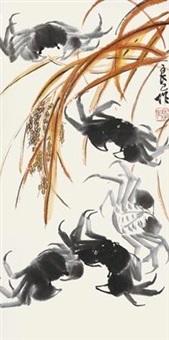 稻蟹图 by qi liangsi