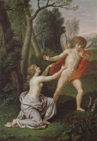 amor und psyche in einer romantischen landschaft by ludwig guttenbrunn