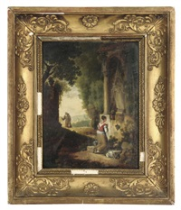 a lady praying before a shrine, a monk in an extensive landscape beyond by jacques joseph duhen