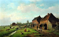 farm scene with figures and cattle by willem vester