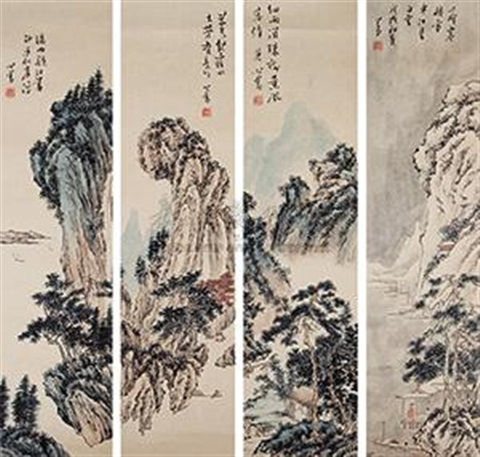 四季山水 four seasons 4 works by pu ru