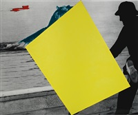 blockage (yellow): with person (black) and hippopotami (blue and red) by john baldessari