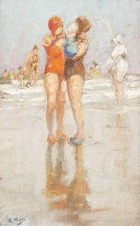 vue d'une plage animée d'un couple de baigneuses et enfant au premier plan by kurt peiser