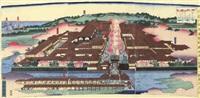 kanagawa yokohama miyozakicho yujoya no fukei (+2 others; triptych) by utagawa yoshitora