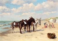 spelende kinderen en drie ezeltjes bij een strandtent by louis soonius