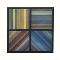 bands of lines in four directions (square plate) by sol lewitt