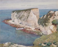 old harry point, studland side, isle of wight in the distance by a. moulton foweraker