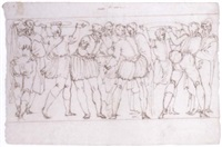 a group of tradesmen, two carrying platters on their heads by ercole setti