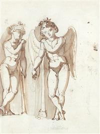 figurkomposition med ängel och mansfigur (+ figur (sketch), verso) by jonas akerstrom