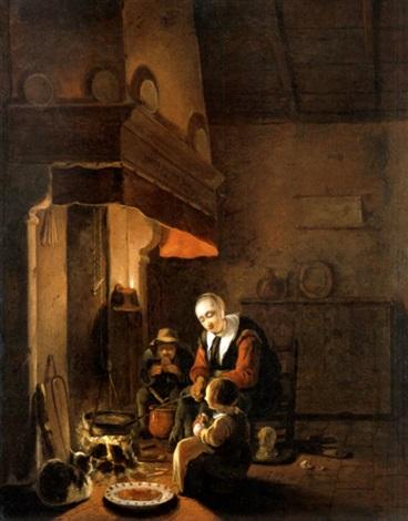 Interieur mit Familie beim Essen am Kamin par Egbert Lievensz van ...