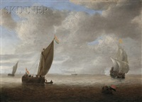 dutch coastal vessels in a light breeze, a man of war firing a salute beyond by hendrick van anthonissen