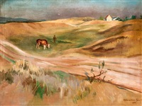 domboldal tehenét legeltető pásztorral by géza bornemisza