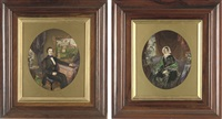 portrait of a lady wearing a black dress, green shawl and white bonnet (+ portrait of a gentleman in formal wear; 2 works) by frederick william lock