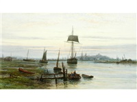 evening on the rother at rye by frederick miller