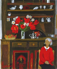jeune femme aux tulipes by alain bailhache