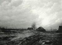 paysage de campine avec chaumières by léonard misonne