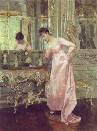 interior med ung pige ved et spejl by albert raudnitz