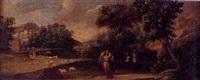 paisaje con el buen pastor y monjes trinitarios by ignacio de iriarte