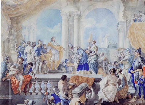 king solomon receiving the queen of sheba by gregorio guglielmi