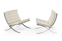 paar knoll-barcelona chairs by ludwig mies van der rohe