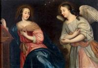 entourage de pierre mignard l'ange apparaissant à une femme près d'un pupitre by french school (17)