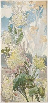 quatre planches fleurs décoratives: chrysanthèmes, iris, pivoines et tulipes (set of 4) by henri privat-livemont