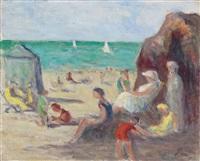 le tréport - scéne de plage by maximilien luce