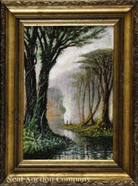 early morning on the bayou among the cypress trees by john antrobus