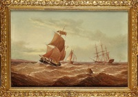 a sailing barge and other shipping at sea by h. moore