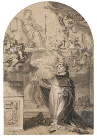 st. dominic kneeling before a personification of the church by abraham van diepenbeeck