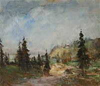 landschaft mit fichten by hans heider