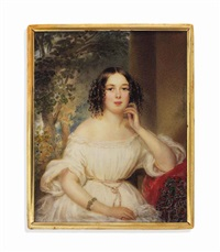 a young lady in off-the-shoulders white dress, seated, her arm resting on a red cashmere shawl, landscape background by alois von anreiter