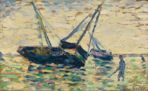 trois bateaux et un marin study for léchouage à grandcamp by georges seurat