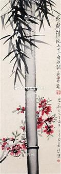 修竹杜鹃 设色纸本 by xu beihong and qi baishi