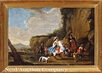 an elegant hunting party in a landscape by simon johannes van douw