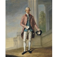 portrait of a gentleman (sir james wright?) with windsor castle beyond by samuel de wilde