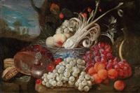 ein früchte- und gemüsestillleben mit einer chinesischen porzellanschale und messinggefäßen by jan pauwel gillemans the elder