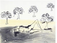 laying with the olive trees by tracey emin