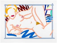 judy on a blue blanket by tom wesselmann