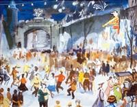 quebec city, winter carnival (+ quebec carnival; 2 works) by henry john simpkins