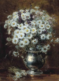 daisies and other summer blooms in a silver ewer by alexis kreyder