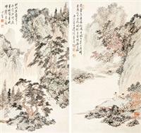 秋江独钓 镜心 设色纸本 (2 works) by pu ru