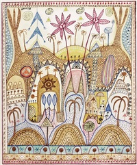 orientalische landschaft (+ ohne titel, 1985, smaller; 2 works) by kurt joseph haas